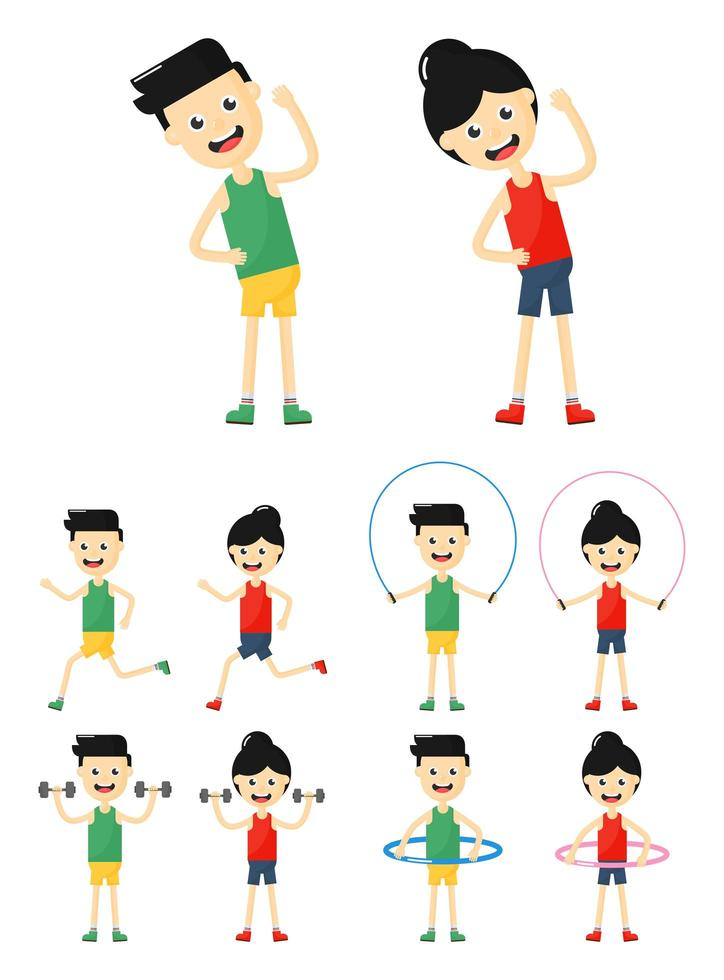 man och kvinna fitness träning set vektor