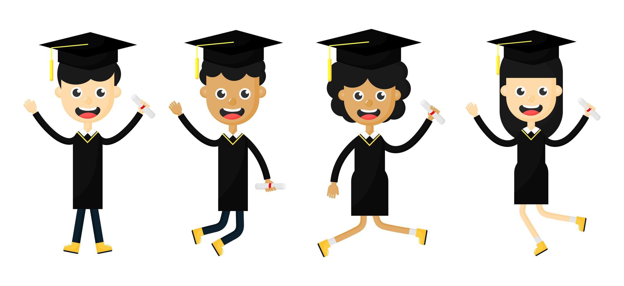 Uppsättning av lyckliga barn i en examen vektor