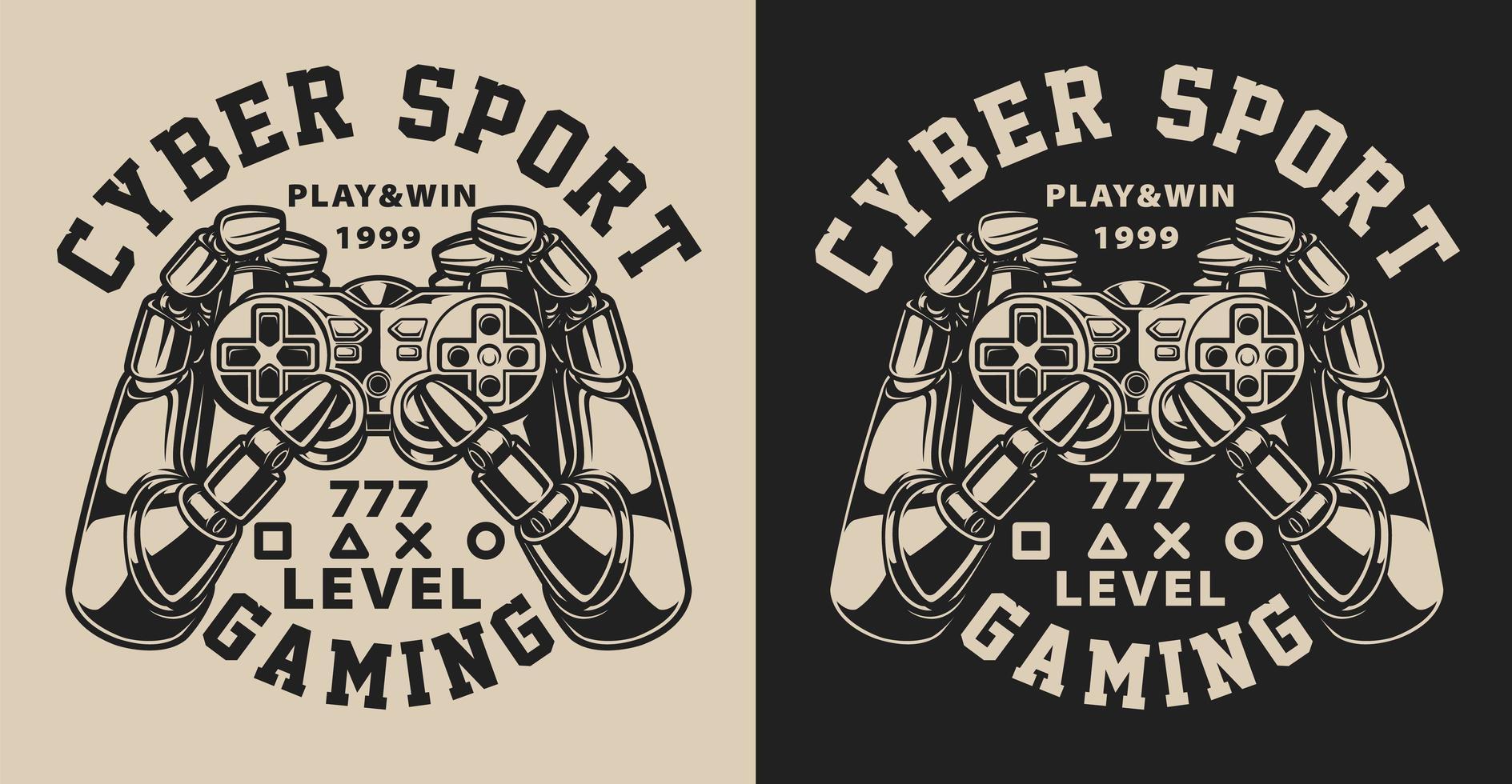 Uppsättning illustrationer med joystick i vintagestil vektor
