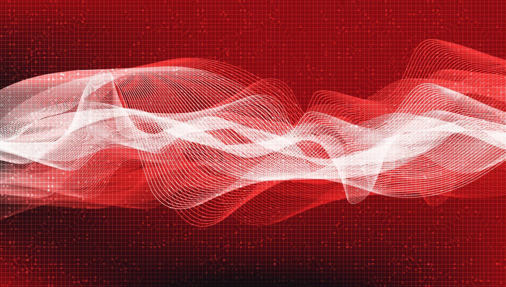 Dark Red Digital Sound Wave Background. vector