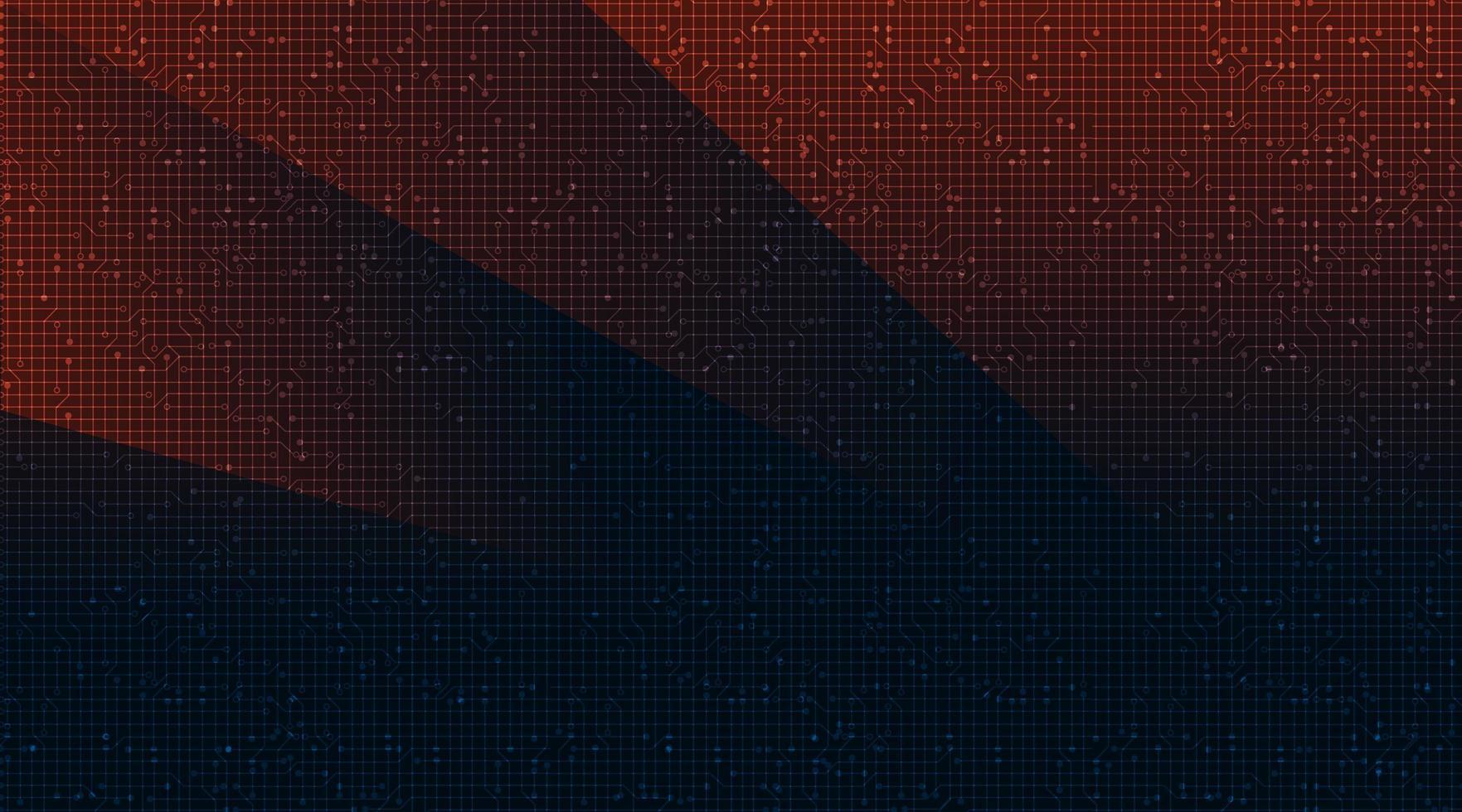 Roter und blauer Stromkreistechnologie-Hintergrund. vektor