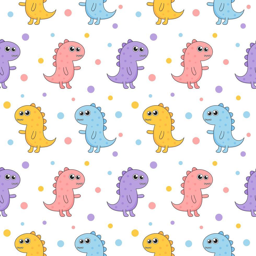 Seamless mönster tecknad dinosaurie mönster vektor