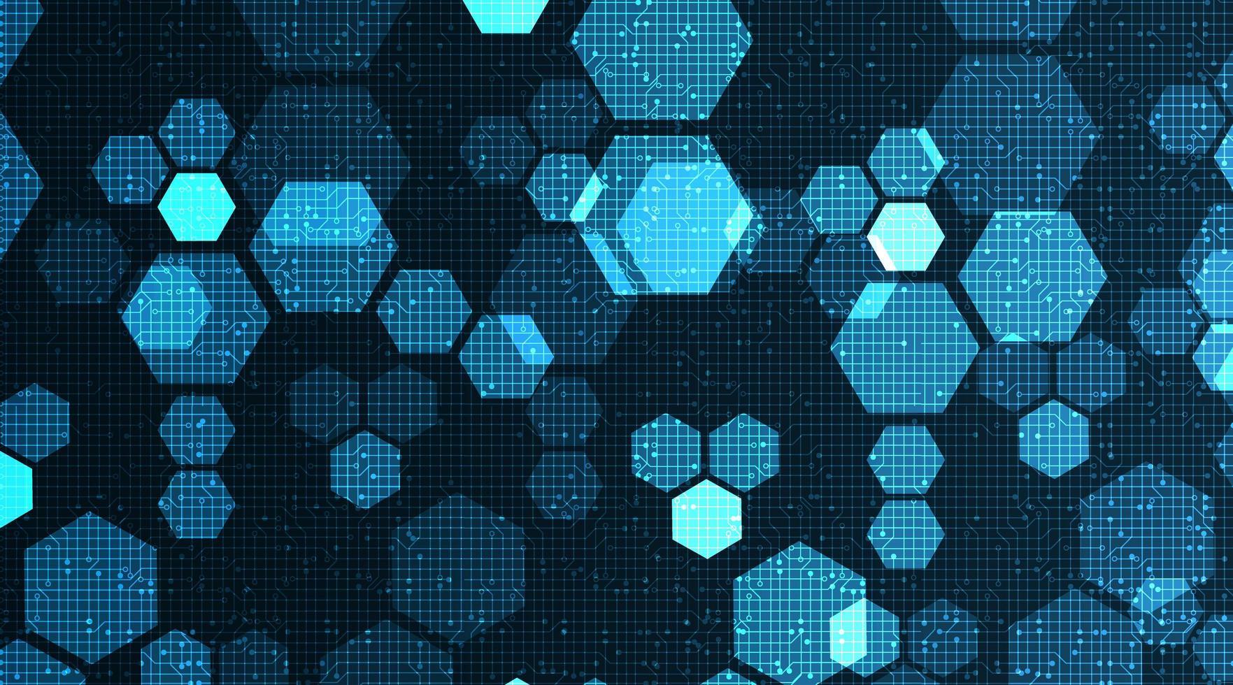 Digital-Polygon-Technologie auf Stromkreis-Mikrochip-Hintergrund. vektor