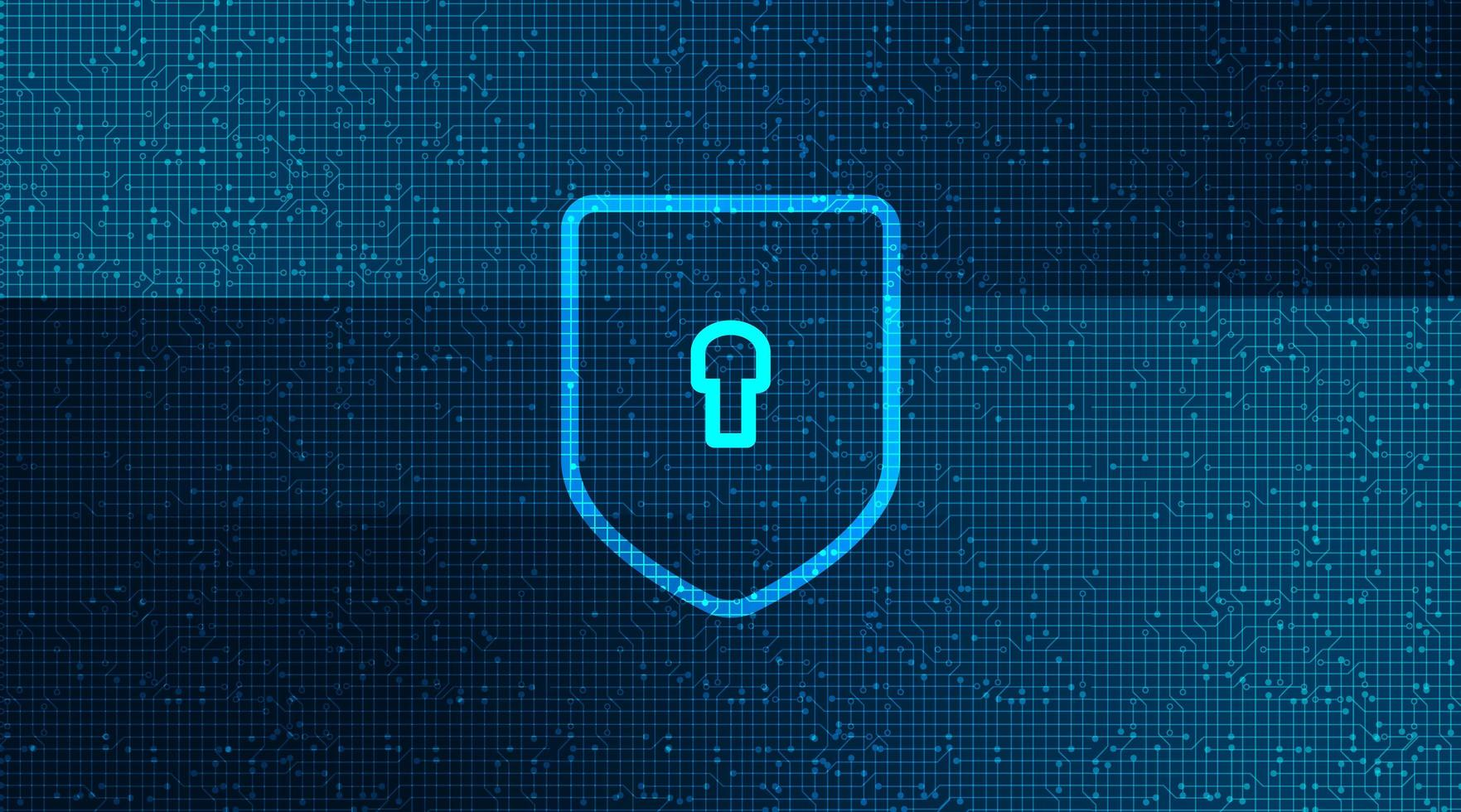 Digital Technology Shields Security background. vector