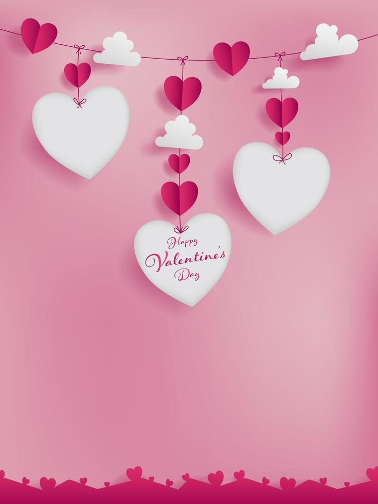 Valentines papper konstkoncept med tre stansar av hjärta form vektor