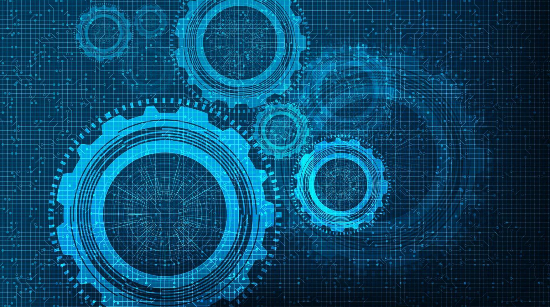 Blue Technology Gears-hjul och kugghjulbakgrund. vektor