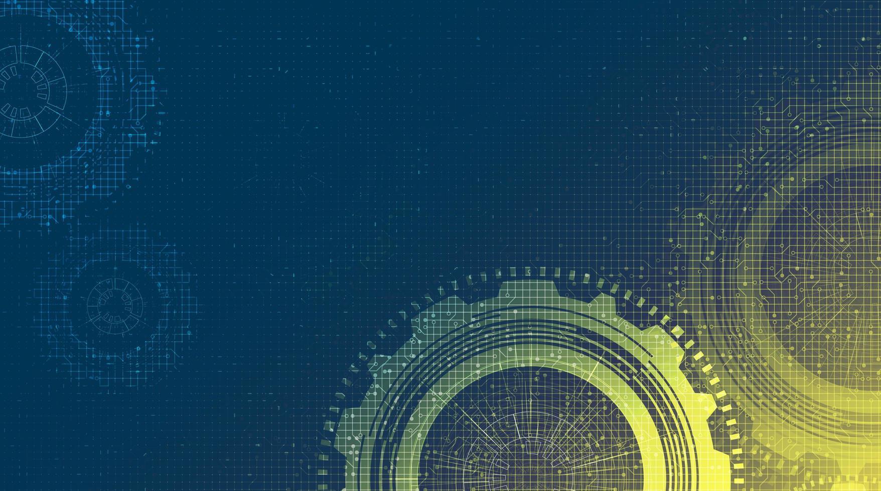Cyber Technology Gears hjul och kugge med Circuit Line bakgrund. vektor