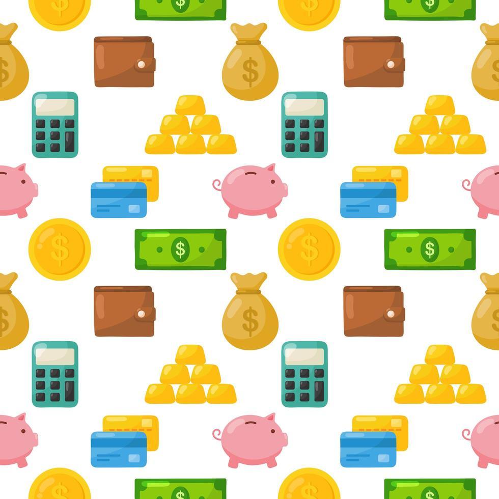 Sömlös mönster för finans tecknad vektor