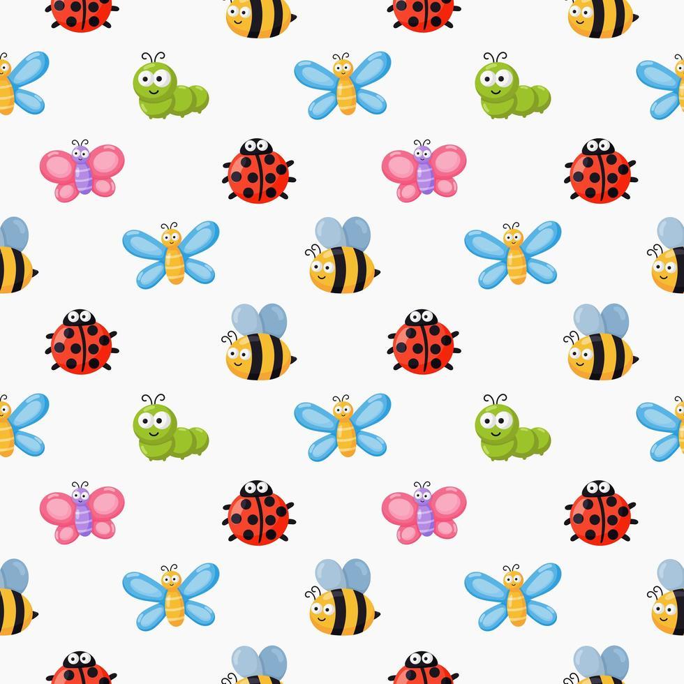 Naadloze patroon grappige insecten vector