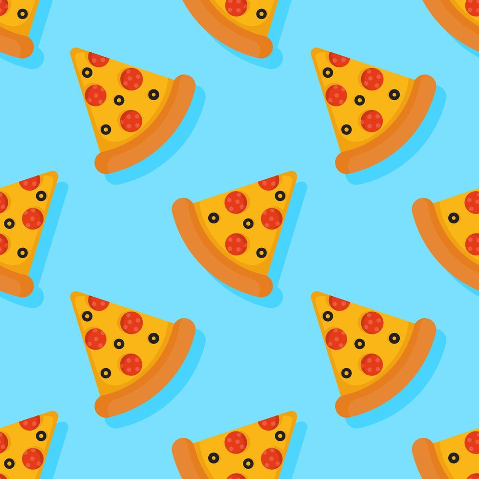 Pizza seamless pattern on blue background vector