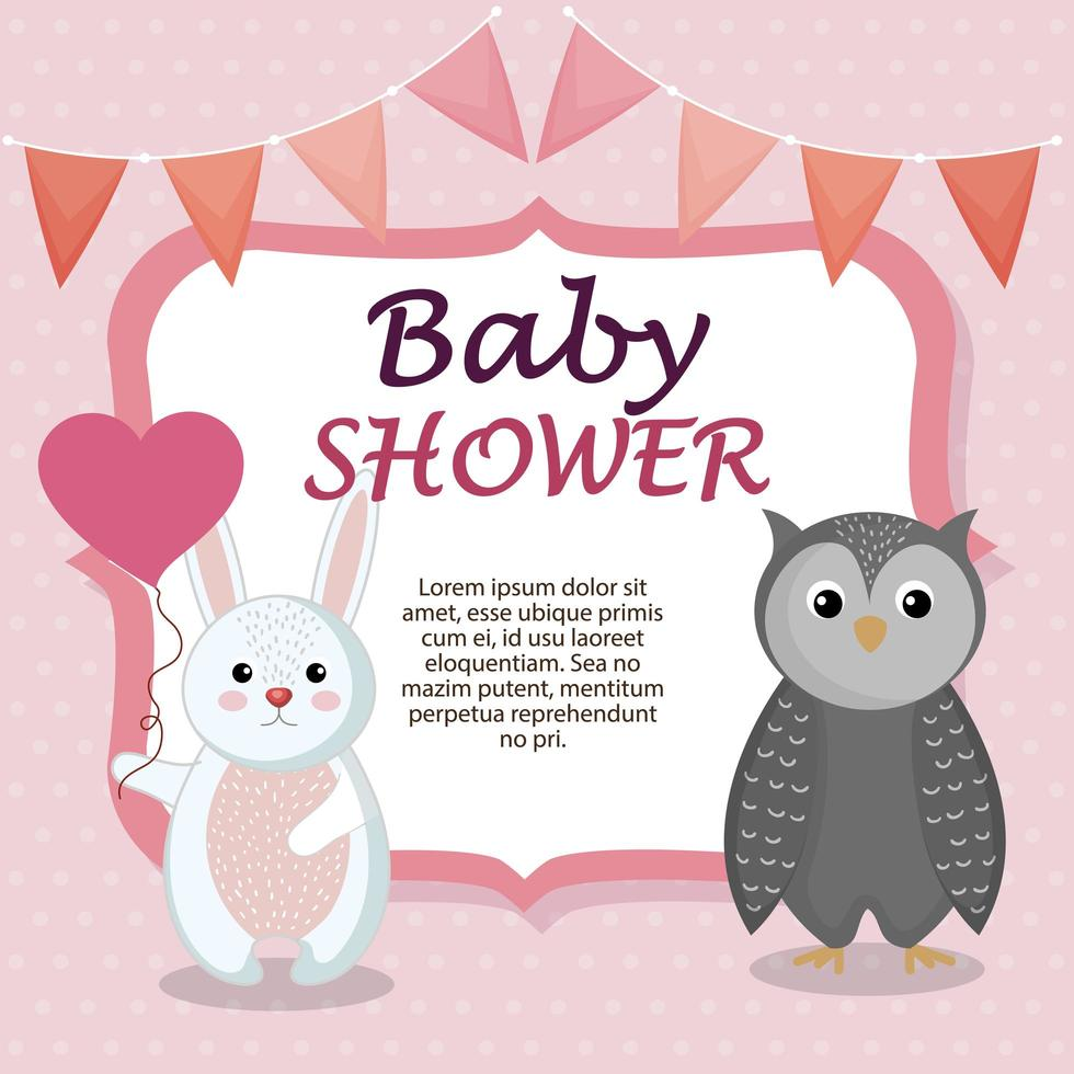carte de douche de bébé avec mignon lapin et hibou vecteur