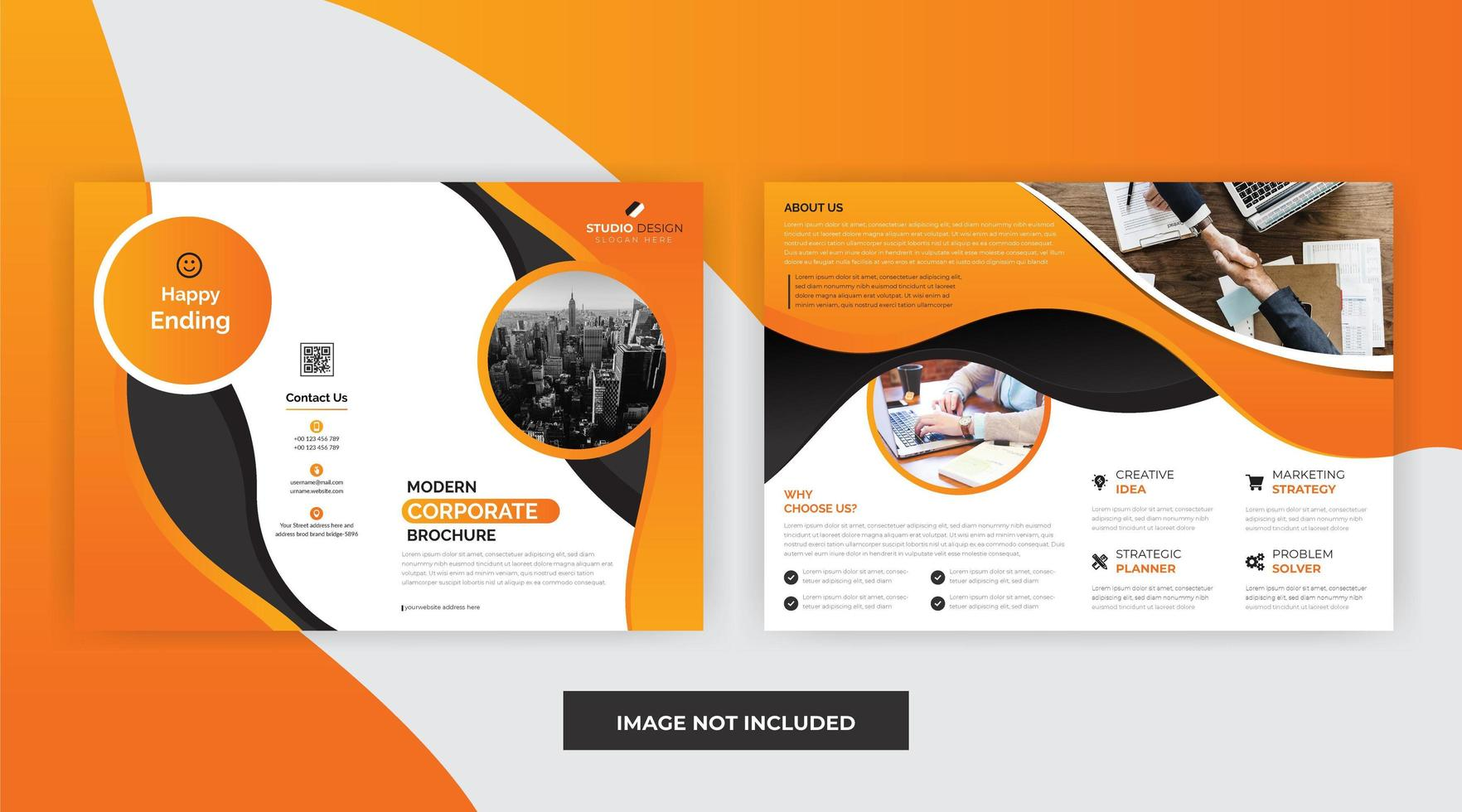 Diseño de plantilla de folleto de negocios corporativos de color naranja vector