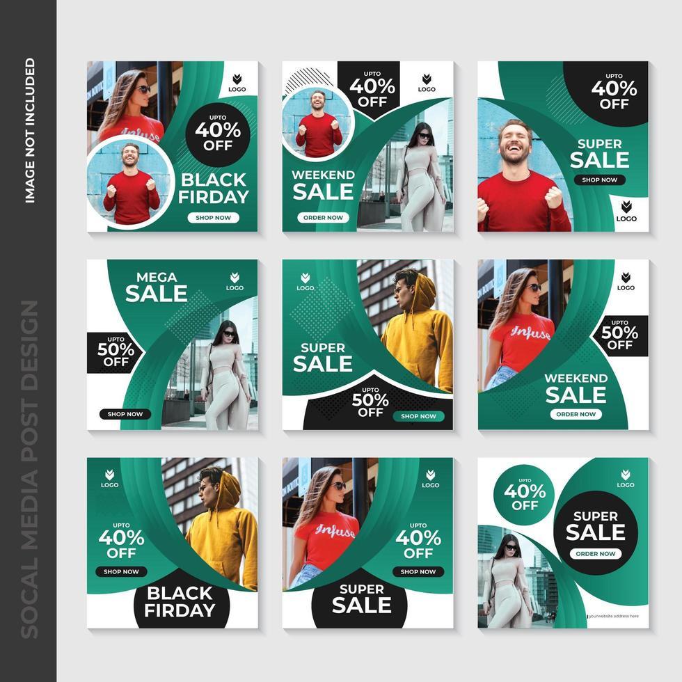Green Fashion Social Media Post Mall Design vektor