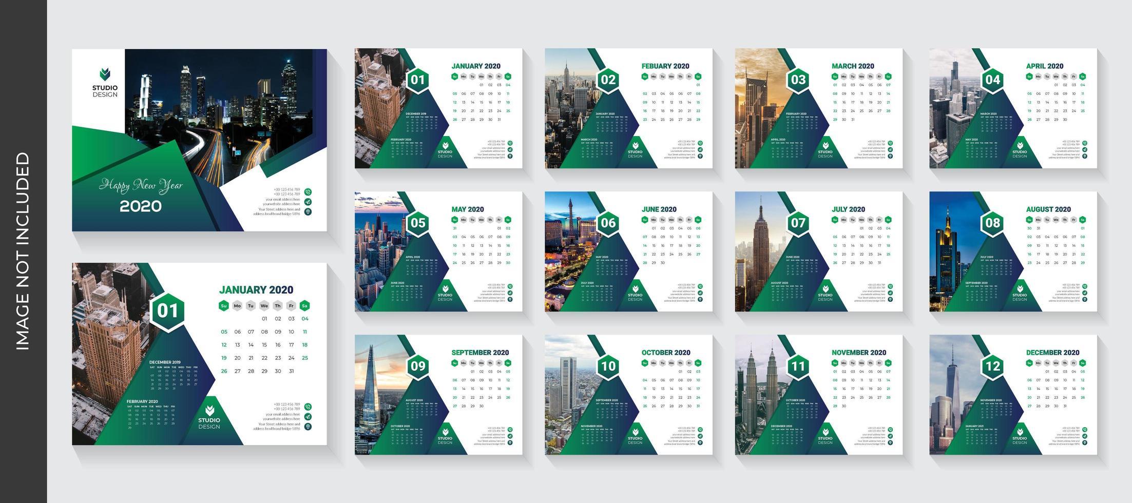 Modello di calendario aziendale scrivania triangolo verde sfumato design
