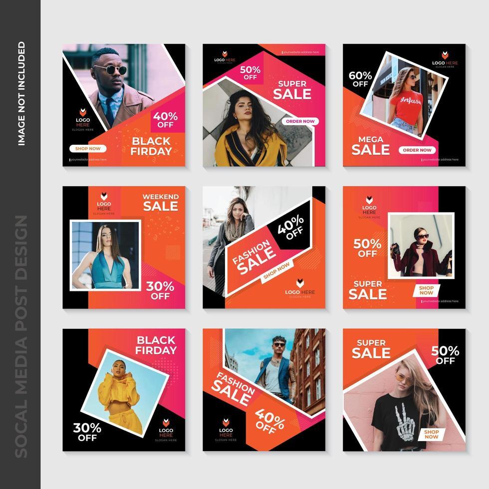 Rosa och orange geometriska modesdesign för sociala medier vektor