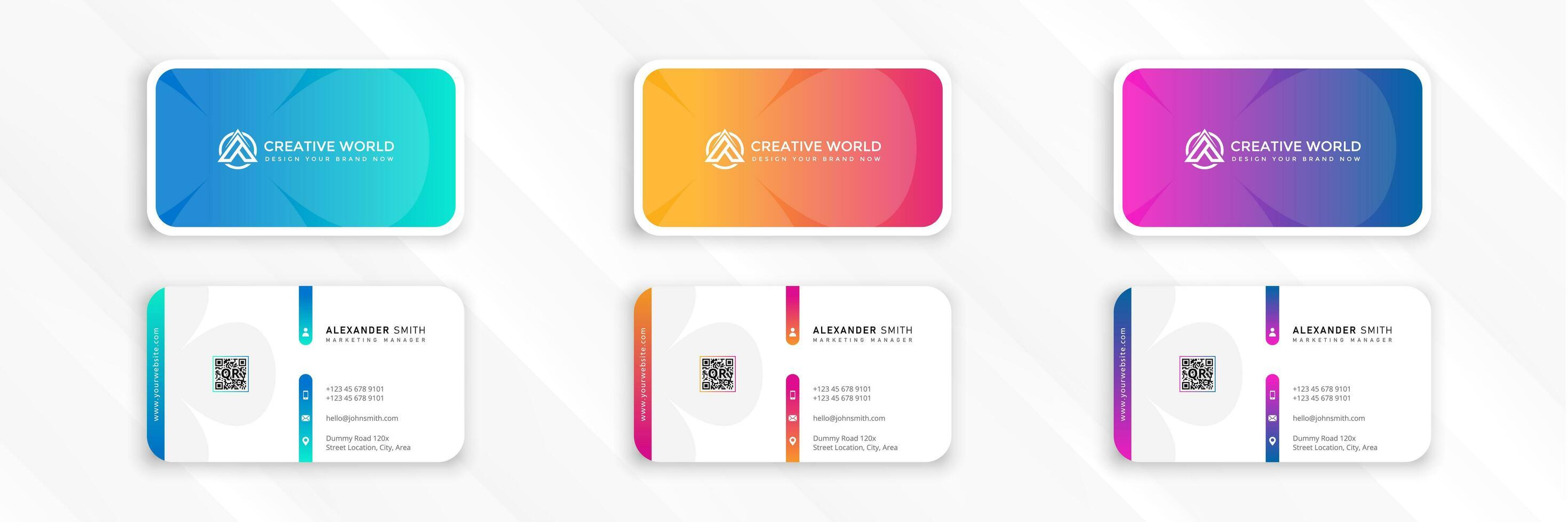 schoon kleurverloop set sjabloon voor visitekaartjes vector