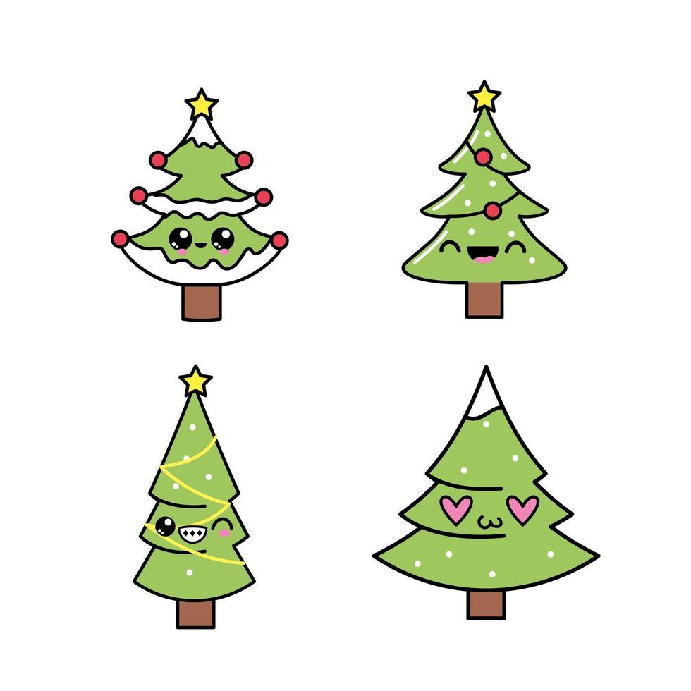 Uppsättning av söta julgranar vektor