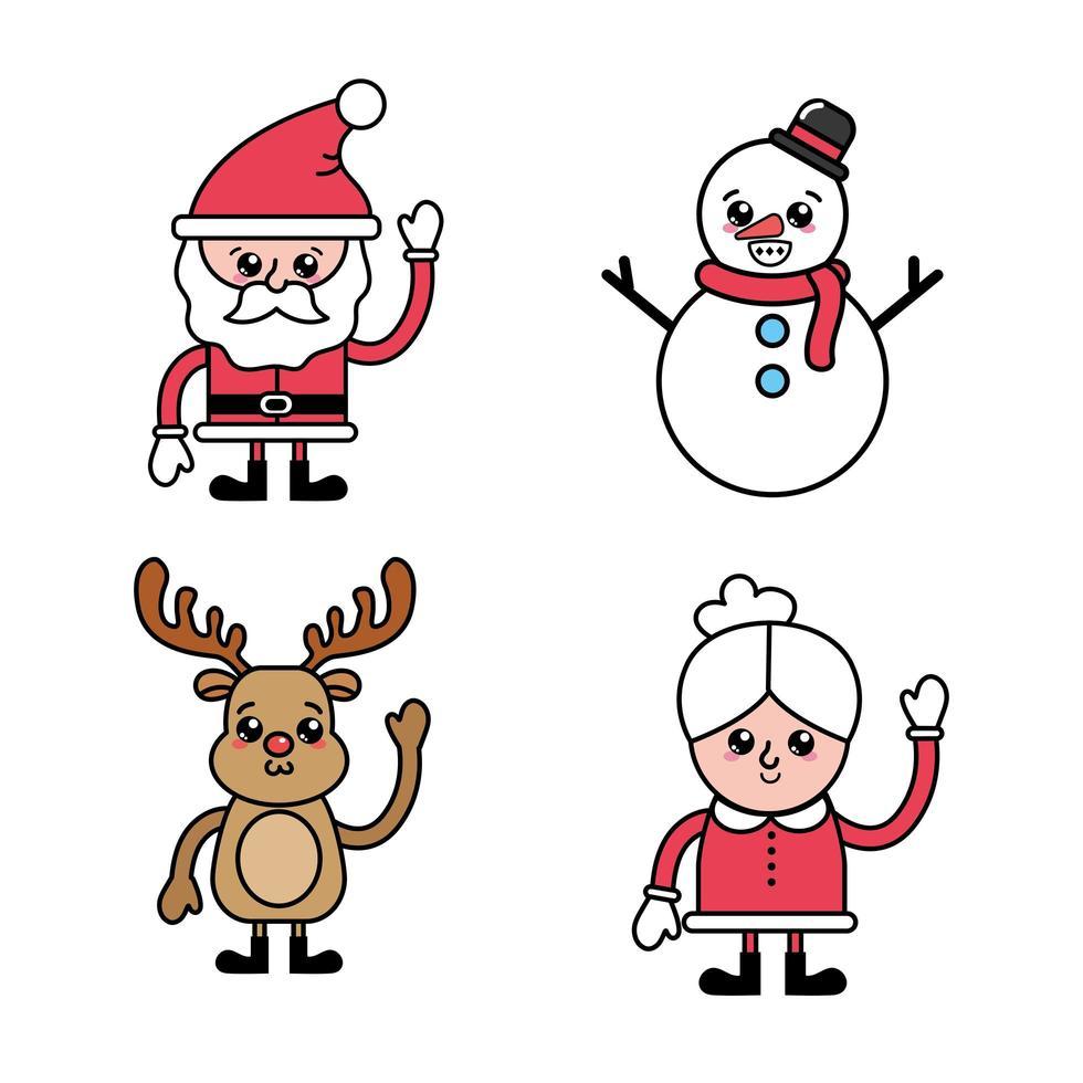 Jeu de caractères de Noël vecteur
