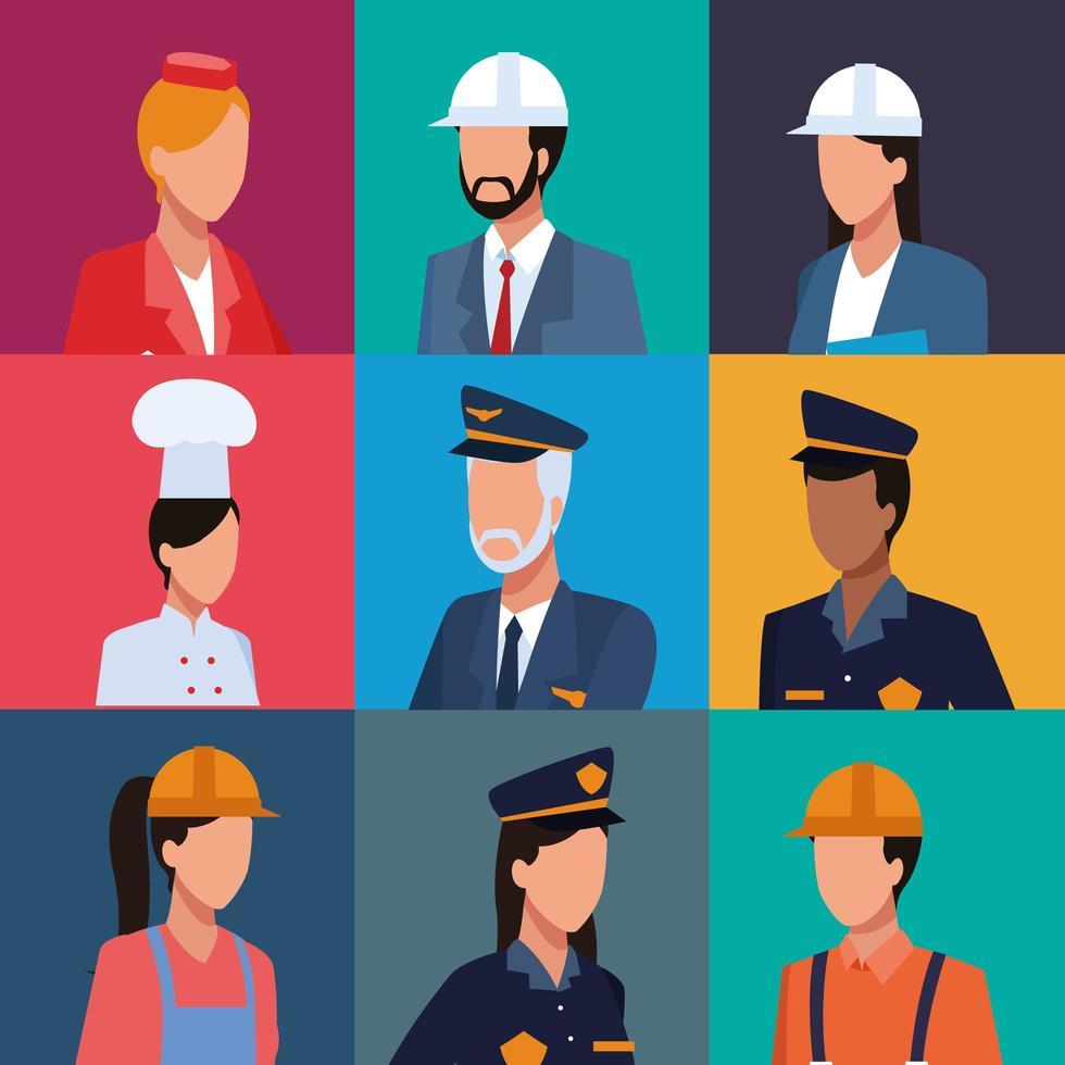 Conjunto de perfil de trabajadores vector