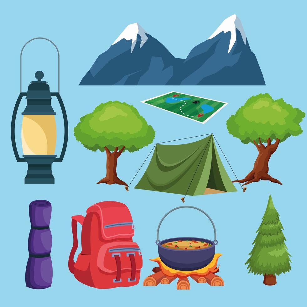 camping element och landskap ikoner tecknad vektor