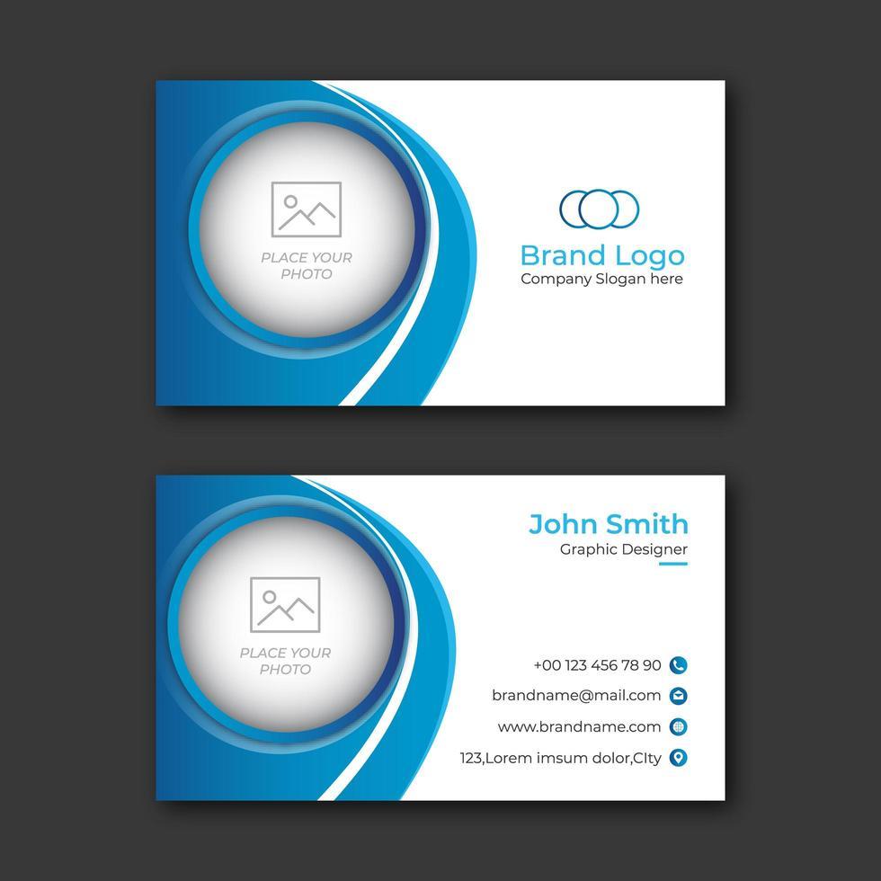 Circle Cutout Blue business card template vector