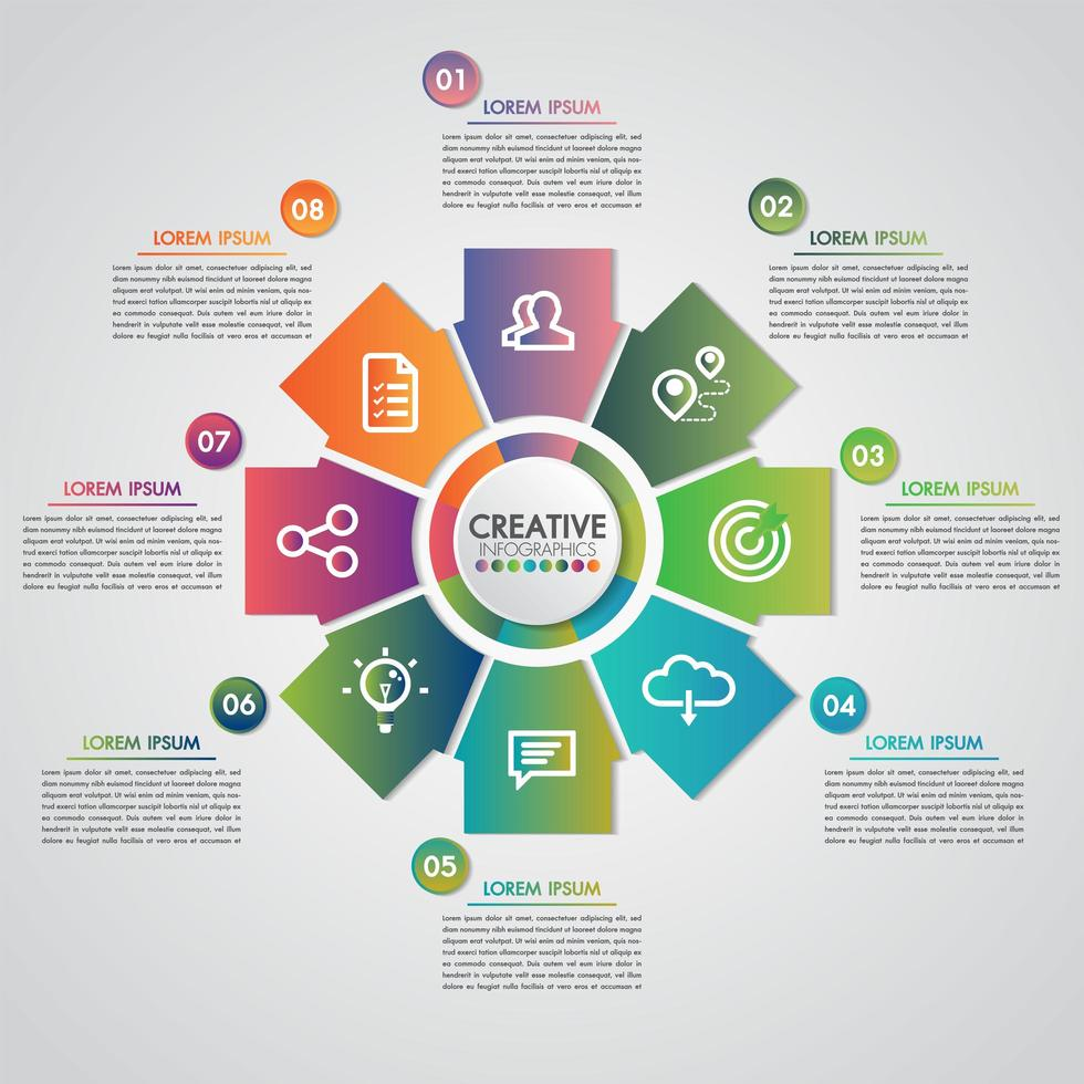 Concepto de presentación comercial con 8 pasos de negocios e industria vector