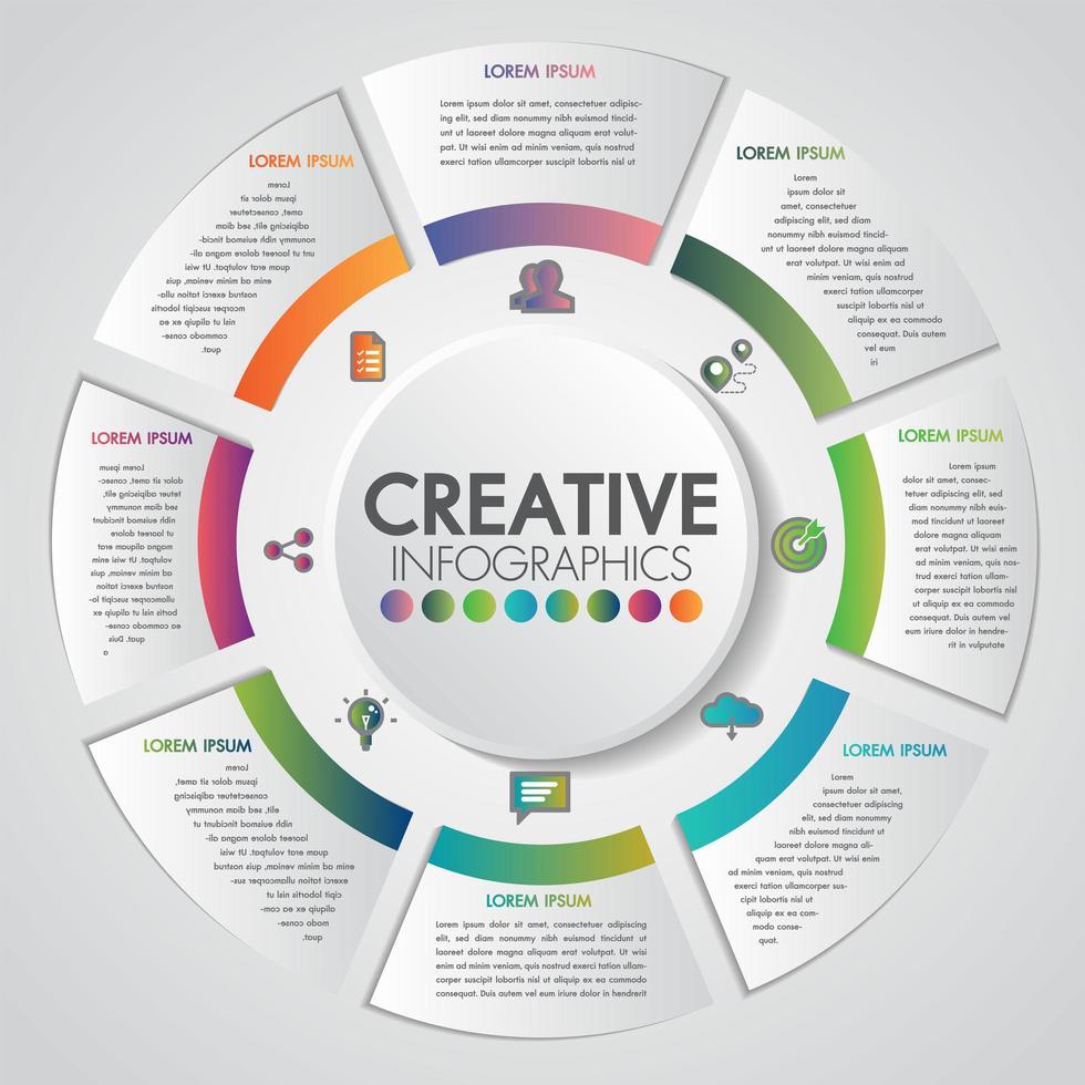 Concetto di presentazione aziendale con 8 passaggi business e design circolare