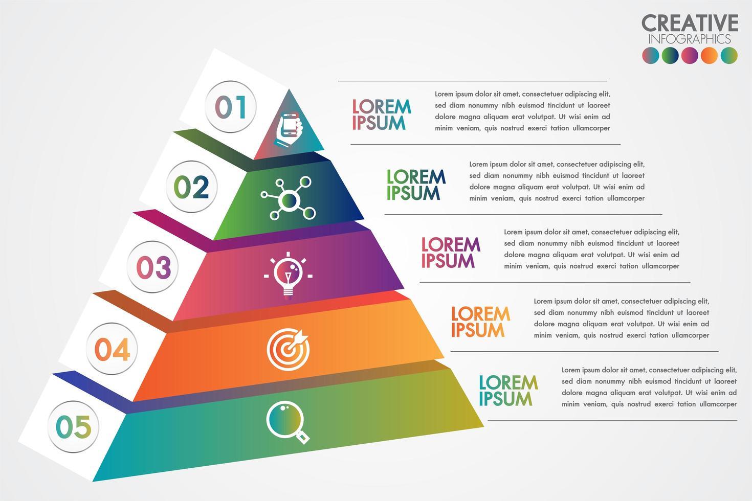 Plantilla colorida de infografía piramidal con 5 pasos u opciones vector
