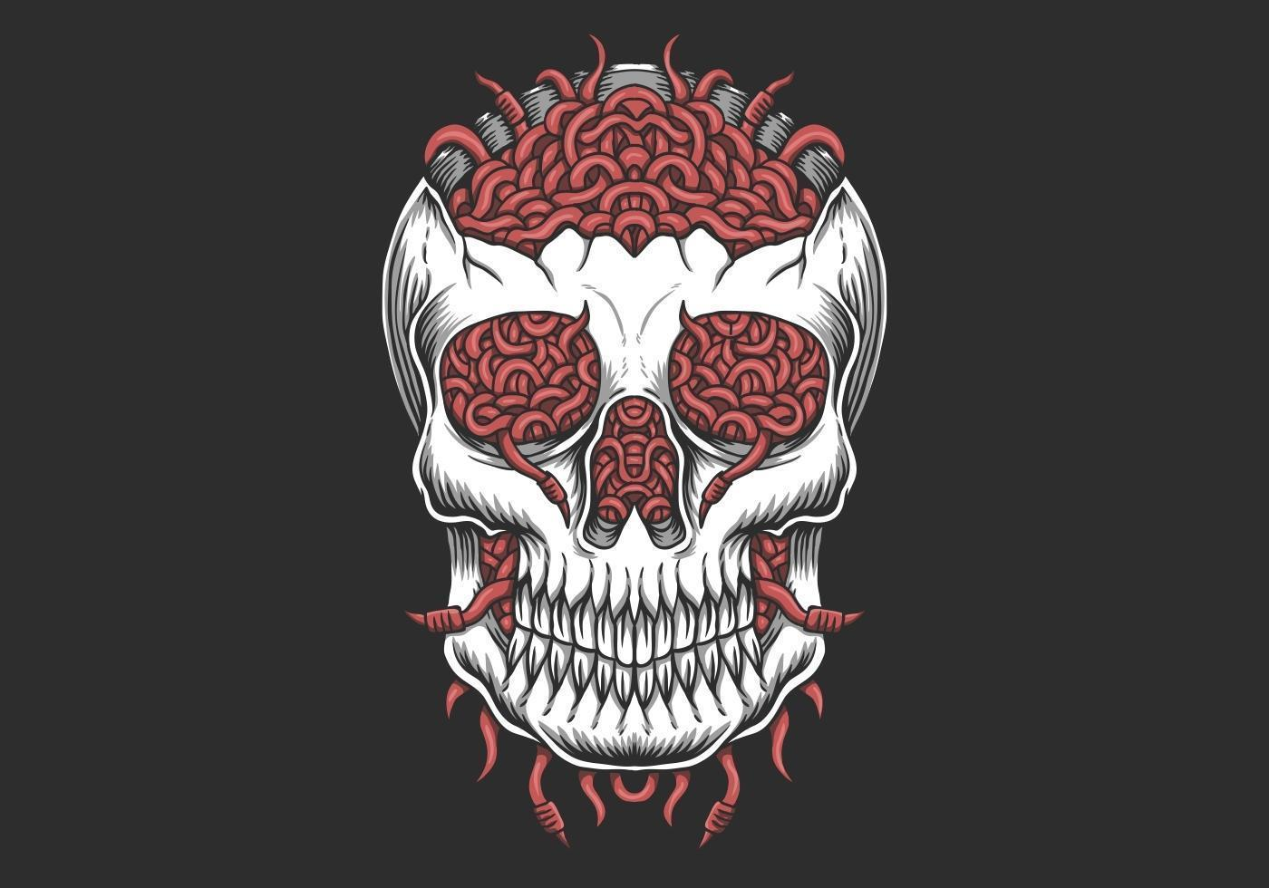 Ilustración de gusano de cabeza de cráneo vector