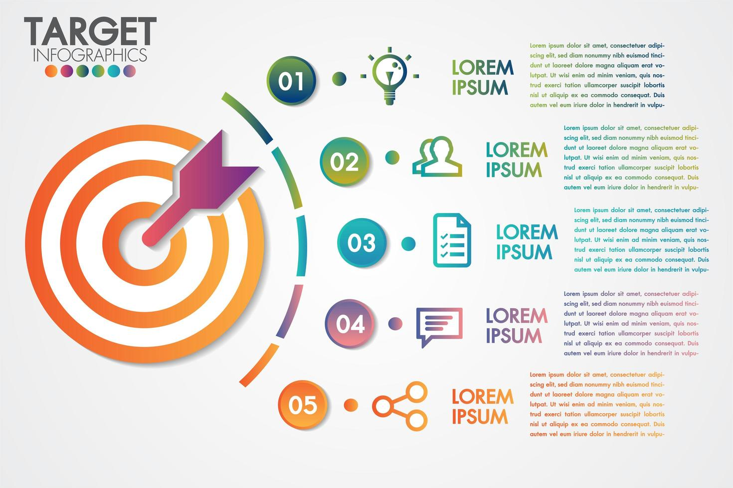 Target infographics 5 steps or options business design vector