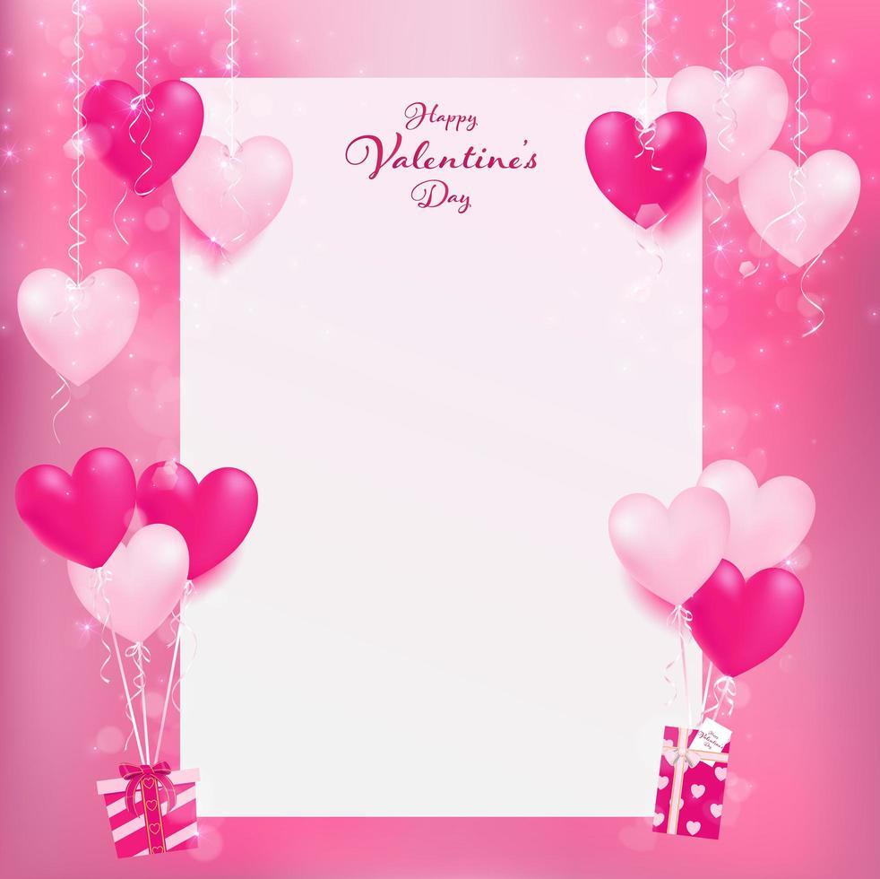 Tomt papper med rosa ballonger vektor