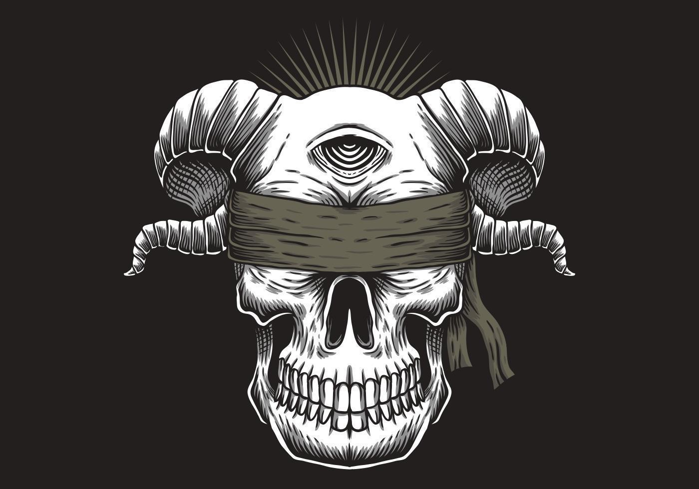 Blind skalle ett öga illustration vektor