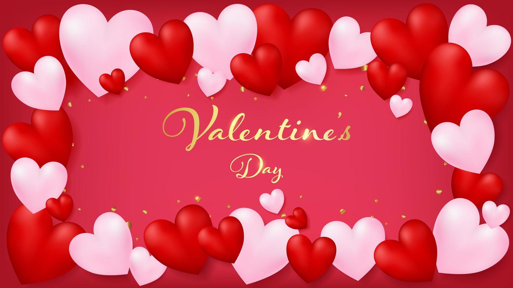 Rote Einladungskarte, die durch die roten und weichen rosa Herzen rundet vektor