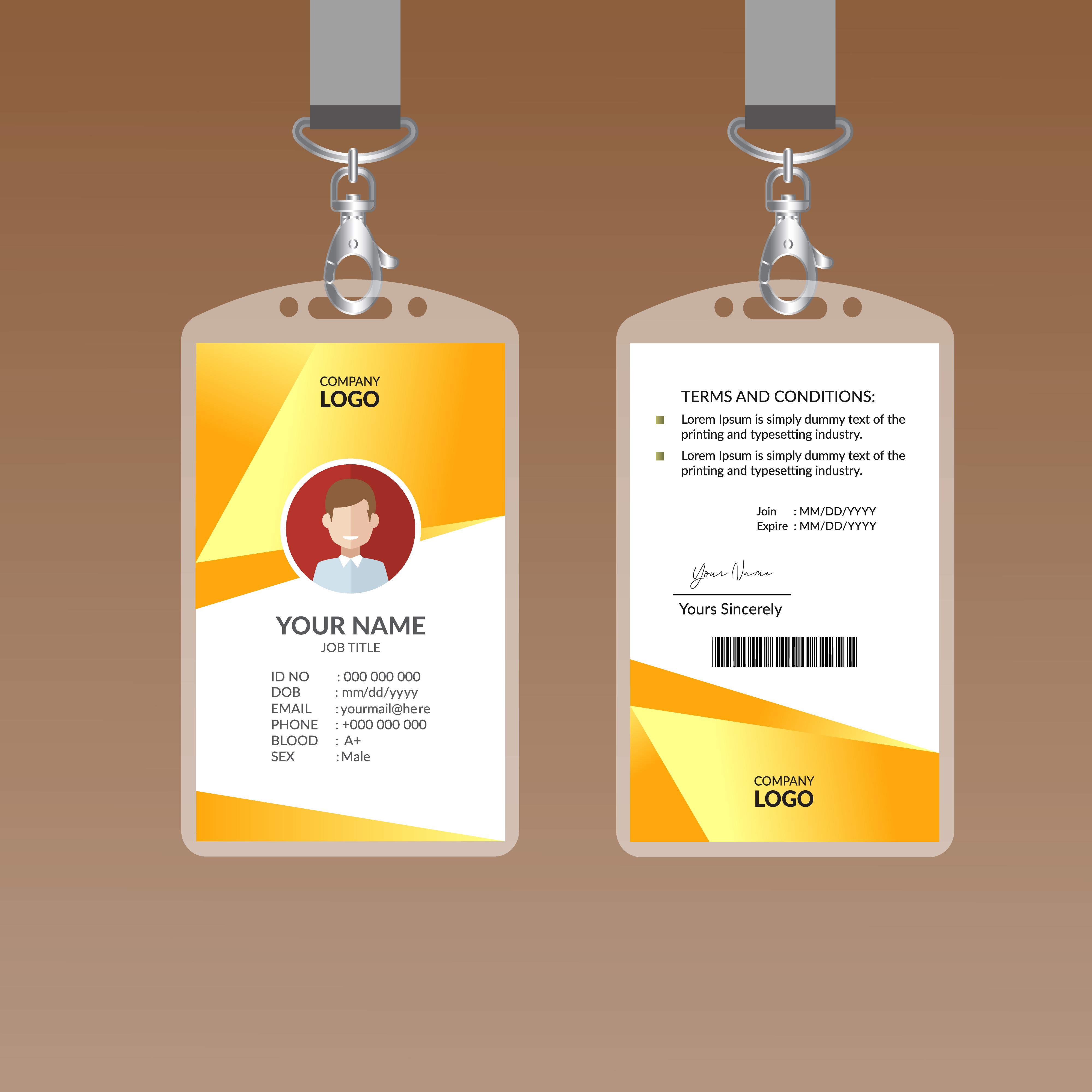 Yellow Modern ID Card Design Template