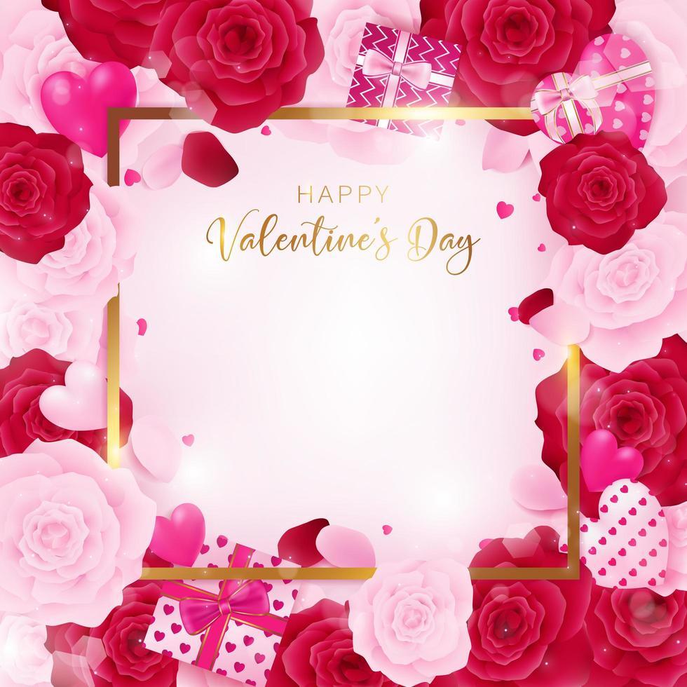 Vista superior amor dia dos namorados modelo quadrado vetor
