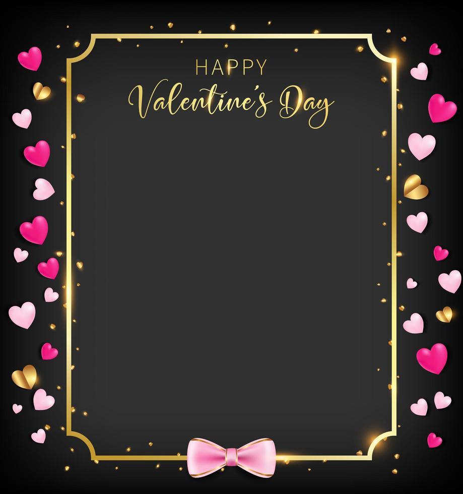 Banner de dia dos namorados preto com glitter de coração vetor