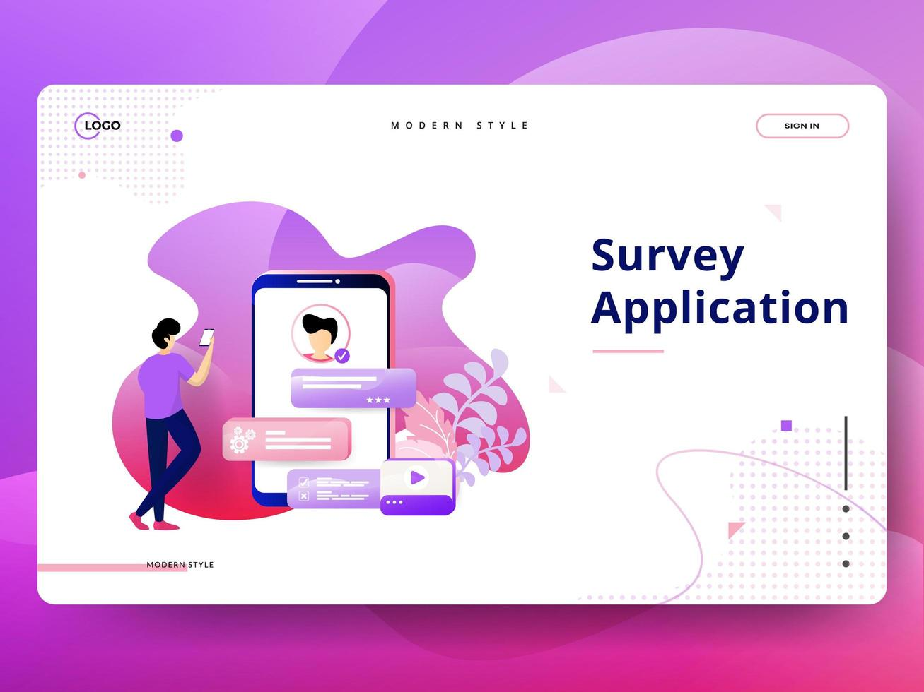 Landing Page Survey Application vector