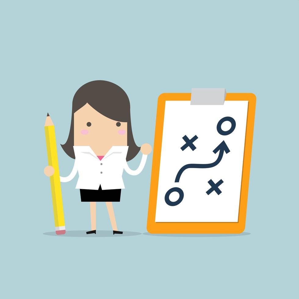 Empresária, segurando o lápis e papel do conceito de estratégia de planejamento vetor