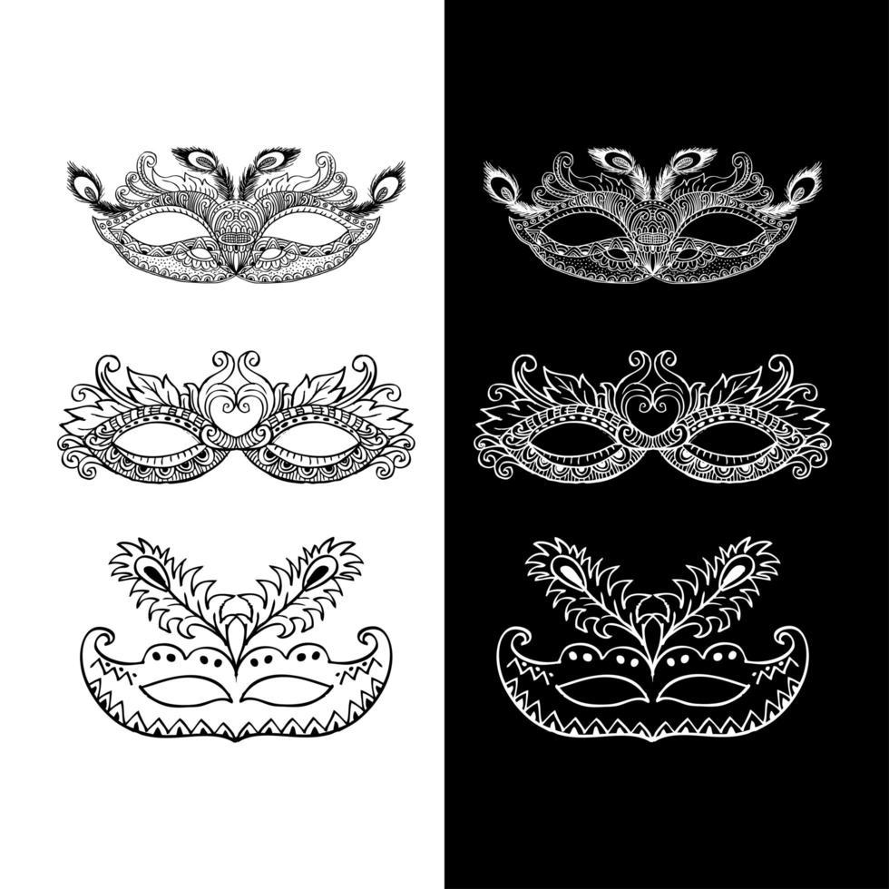 Set of doodle carnival masks