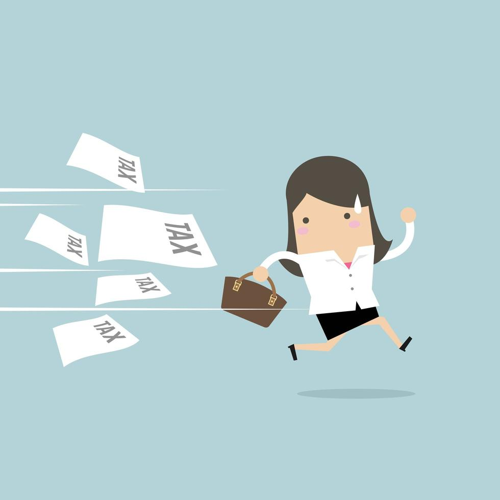 Businesswoman running away from tax invoice.