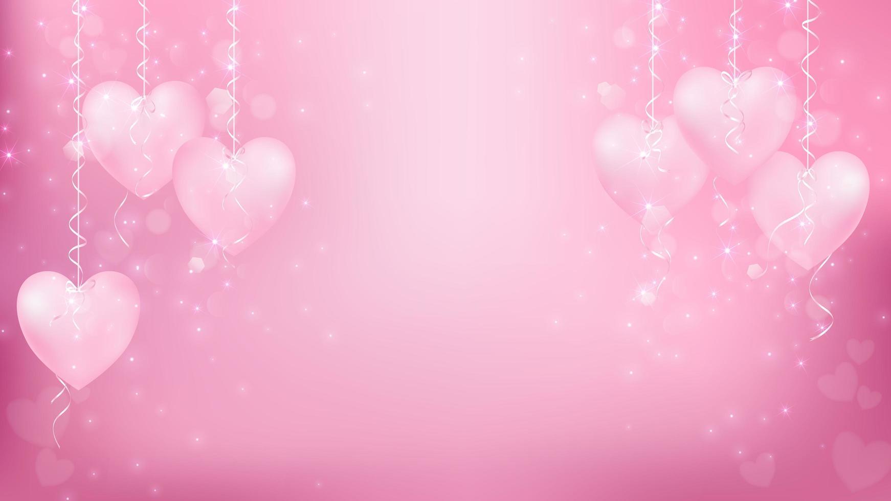 Pastellhjärtan som hänger med rosa bokeh vektor