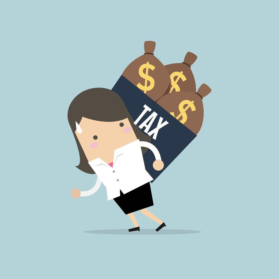 Affärskvinnaskulderskatt med pengarpåse. vektor