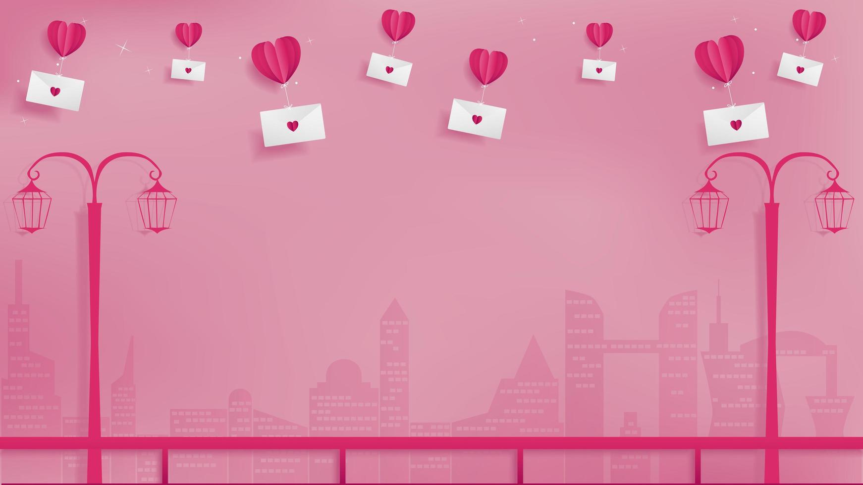 Alla hjärtans ballonger med kuvert vektor
