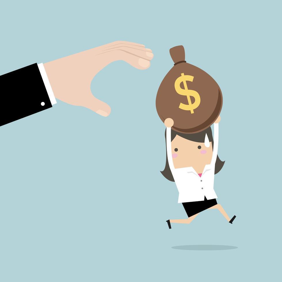 Affärskvinna springer från händer som försöker stjäla pengar vektor