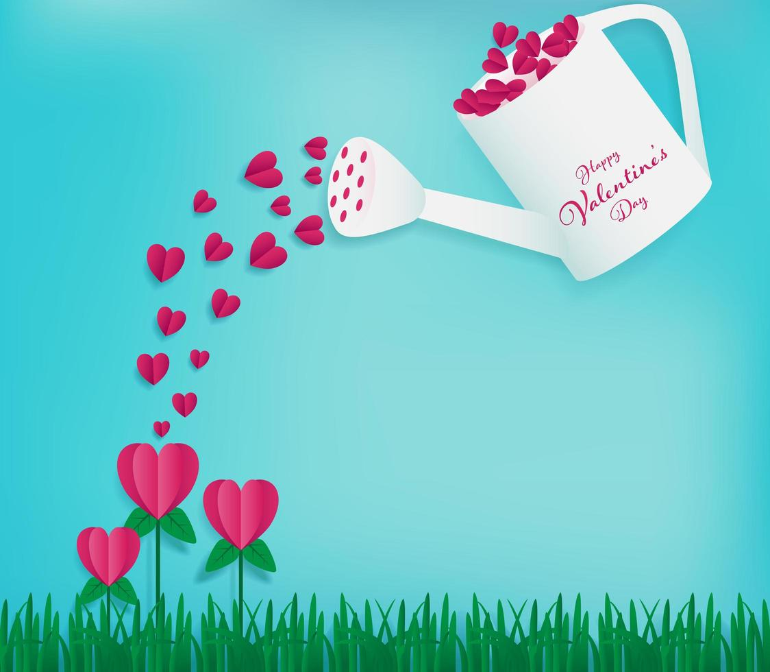 Watering can  full of red hearts