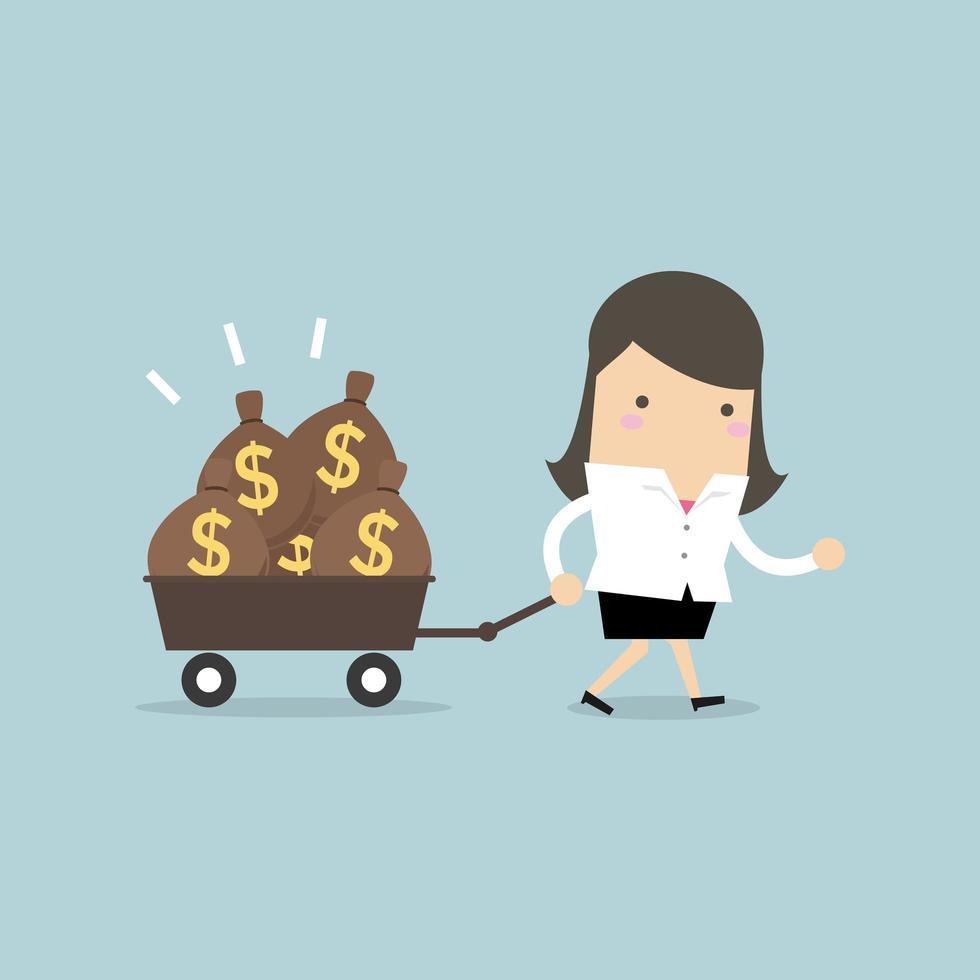 Affärskvinna som går med vagnen fulla av pengarpåsar. vektor
