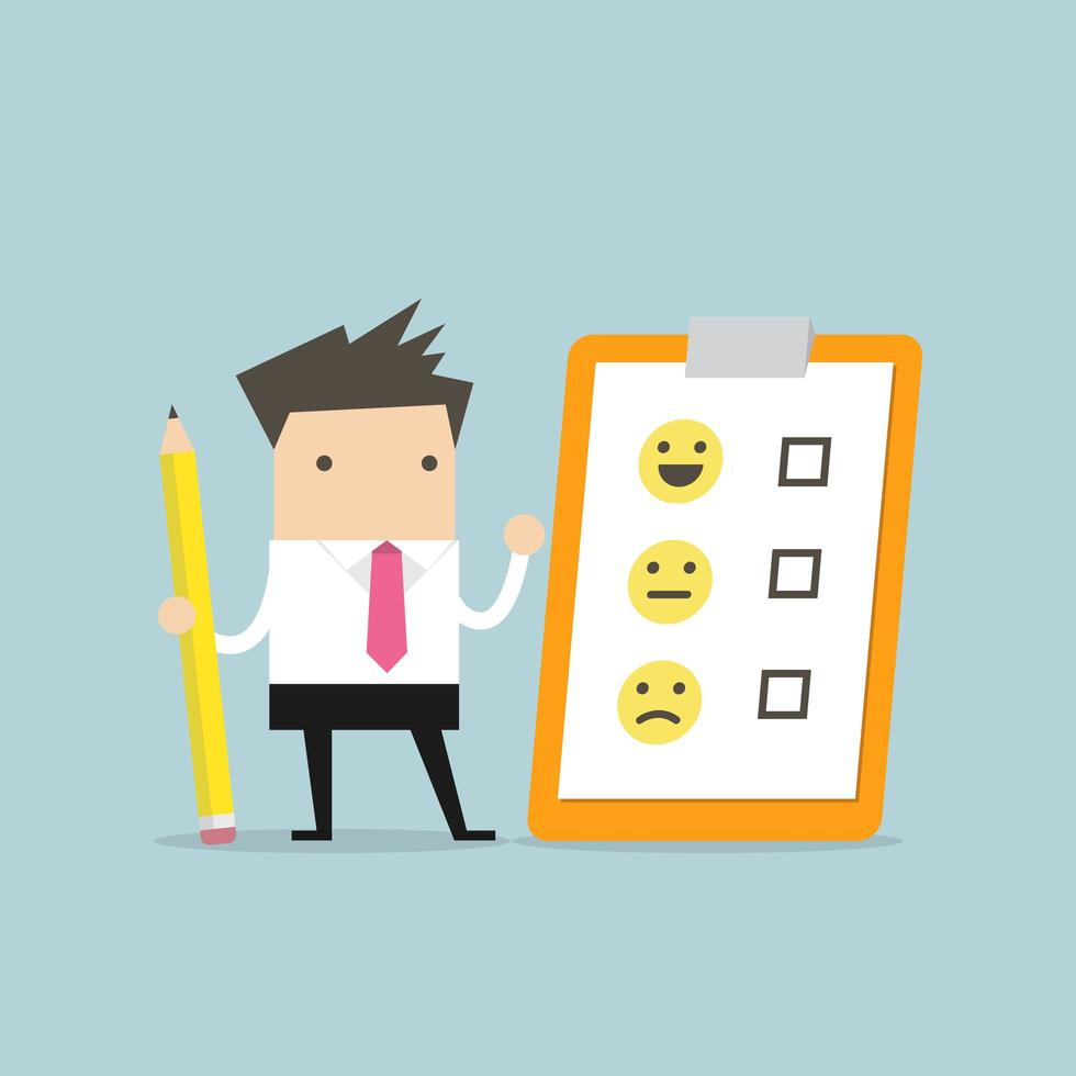 Affärsmaninnehavblyertspenna och papper av utvärderingschecklistan vektor