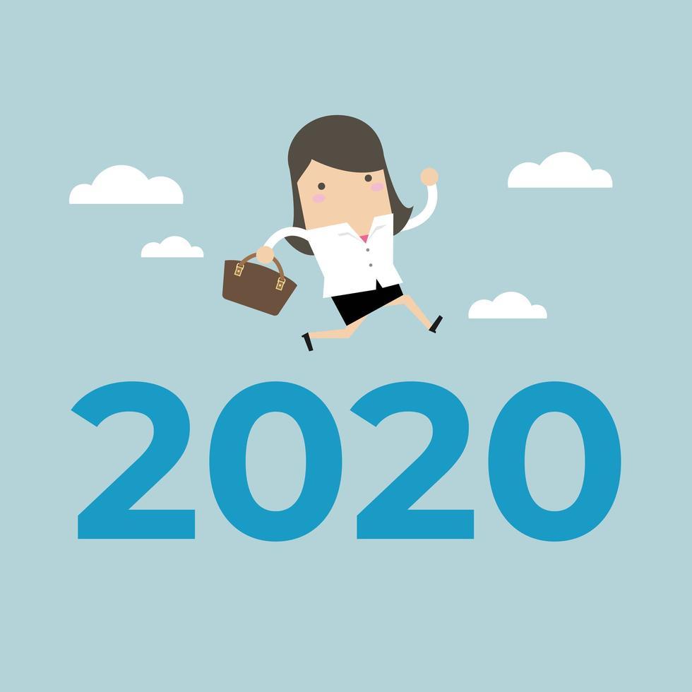 Affärskvinnan hoppar över nummer 2020. vektor