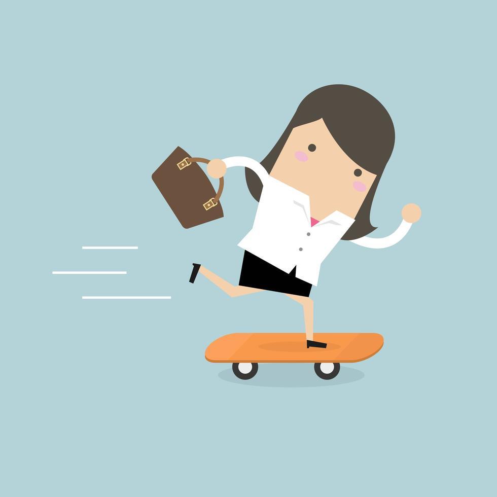Affärskvinna på skateboard med portföljen. vektor