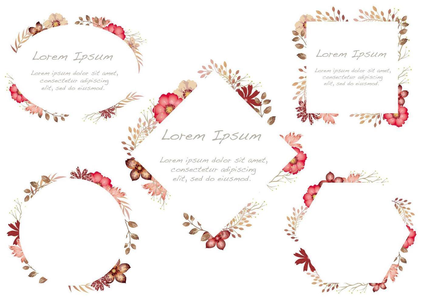 Uppsättning av röda blommor för akvarell som isoleras på en vit bakgrund. vektor
